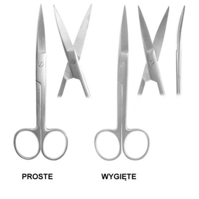Nożyczki operacyjne 16,5 cm ostre zakrzywione